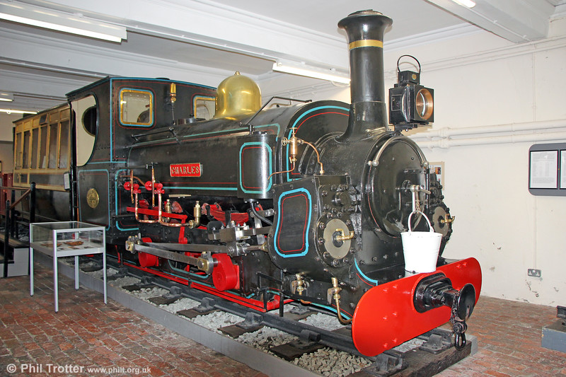 Penrhyn Quarry Railway Hunslet (283/1882) 0-4-0ST 'Charles' at the Penrhyn Castle Railway Museum on 6th September 2017. Sisters, 'Linda' and 'Blanche' are active on the Ffestiniog Railway.