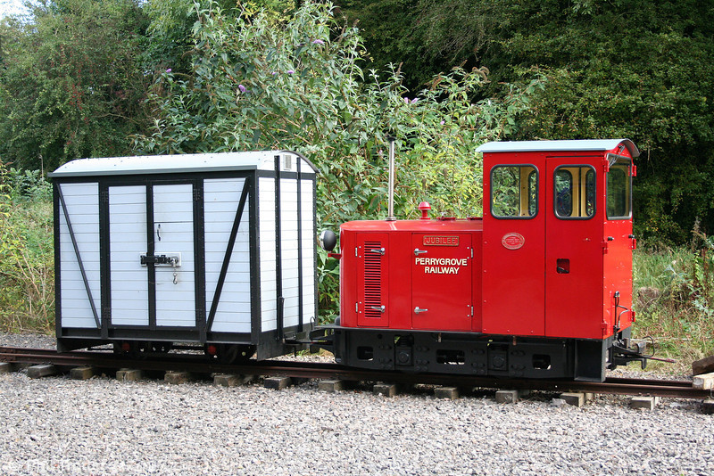 This neat little Hunslet 4wDH (9337/1994) 'Jubilee' was originally 2ft gauge but converted for the 15ins Perrygrove Railway. It was seen at Oakiron terminus on 26th September 2009.