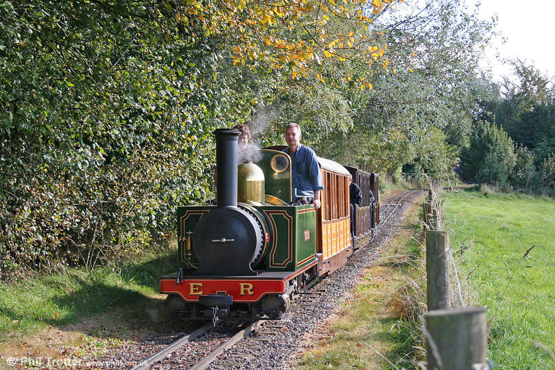 Waterfield 0-6-0T 'Ursula' heads away from Perrygrove with the Heywood coaches forming the 1443 to Oakiron on 26th September 2009.
