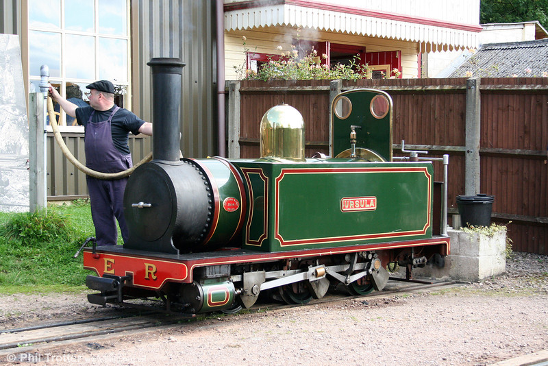 Waterfield 0-6-0T 'Ursula' taking water at Perrygrove on 26th September 2009.