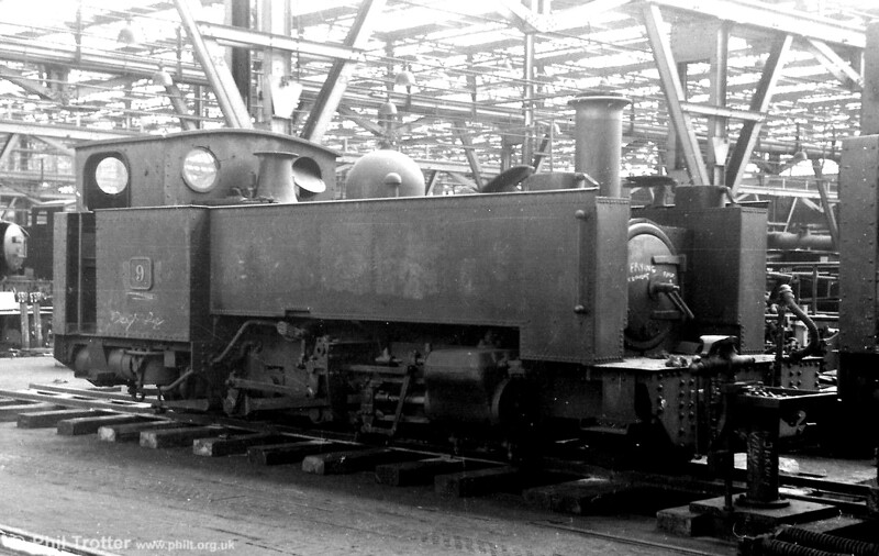 Vale of Rheidol 2-6-2T no.9 'Prince of Wales' undergoiung overhaul at Swindon Works in the 1960s. (P.Trotter Collection)