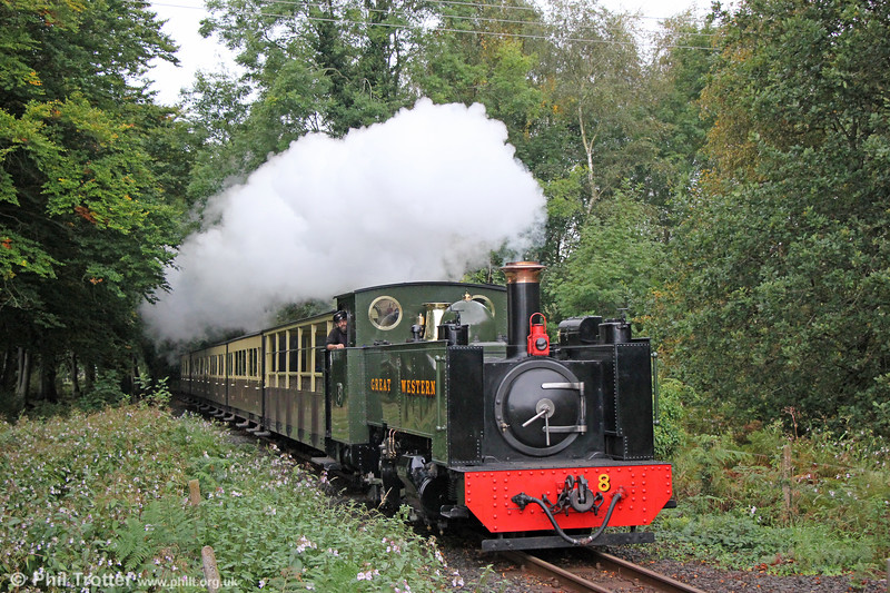 VoR 2-6-2T no. 8 emerges from the tunnel of trees at Glanyrafon with the 1400 Aberystwyth to Devil's Bridge on 24th September 2017.