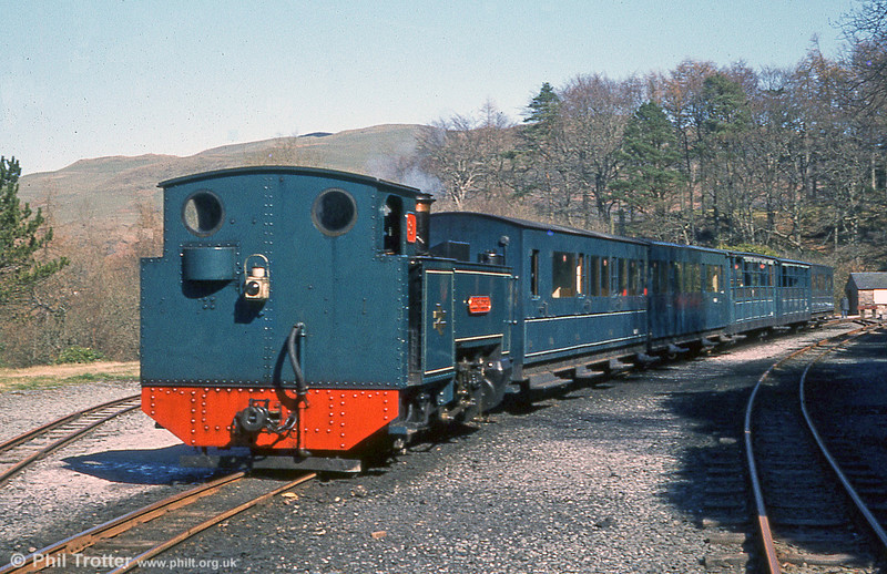 In BR blue days, Vale of Rheidol 2-6-2T no. 8 'Llewelyn' at Devil's Bridge. The loco was built at Swindon in 1923.