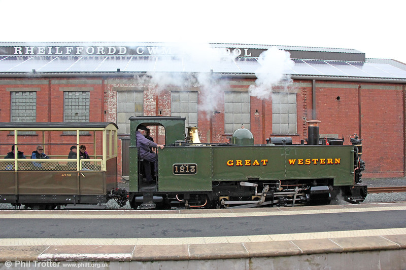VoR 2-6-2T no. 1213 waits at the new platform at Aberystwyth with the to 1400 Devil's Bridge on 7th October 2019.