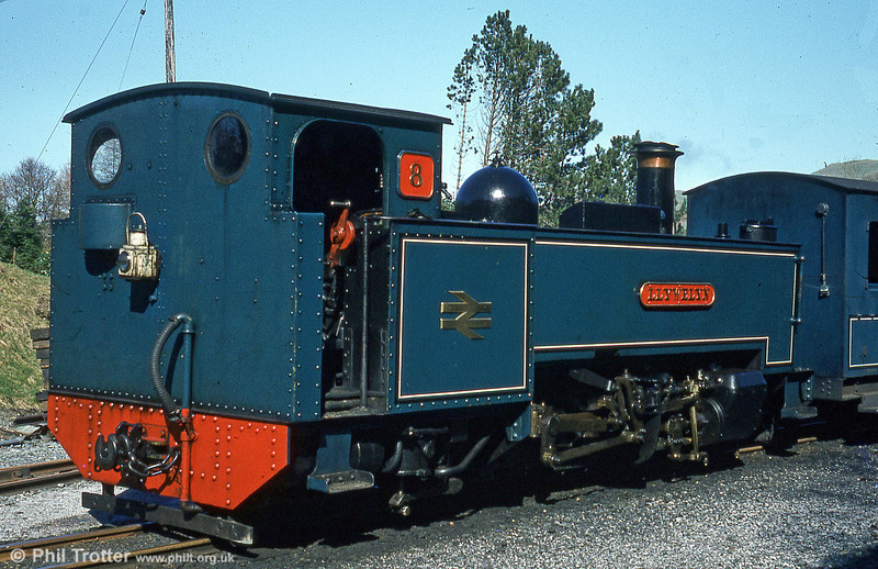 BR blue Vale of Rheidol 2-6-2T no. 8 'Llewelyn' at Devil's Bridge, exhibiting the later BR lined blue livery which was introduced in 1976.