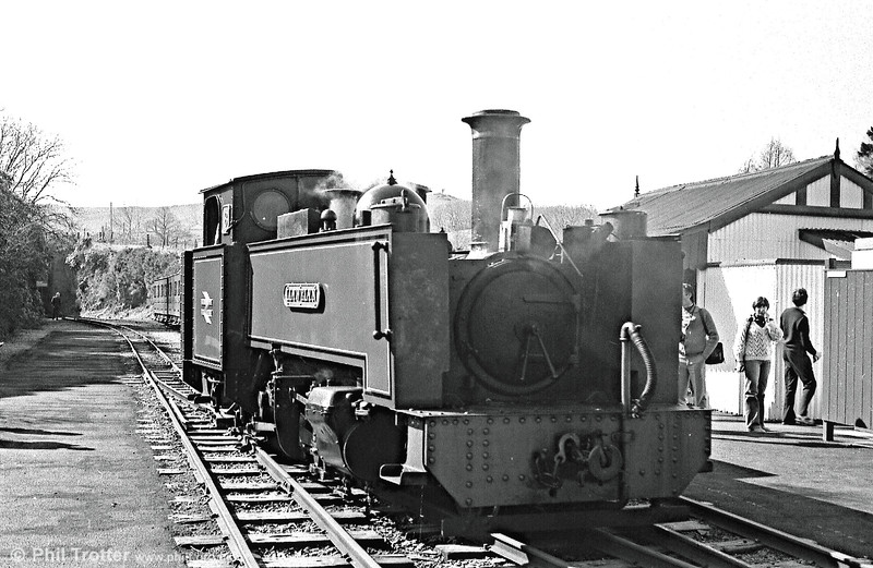 VoR 8 'Llywelyn', built at Swindon in 1923, reverses from the buffer stop at Devil's Bridge to take water and then head back to Aberystwyth.