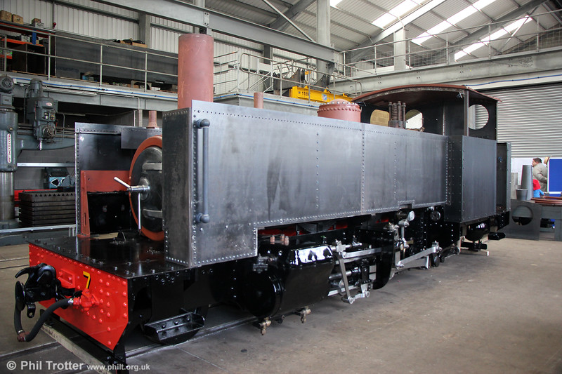 After 20 years out of use, the rebuild of 2-6-2T no. 7 is nearing completion in the workshop at Aberystwyth. 16th September 2017.