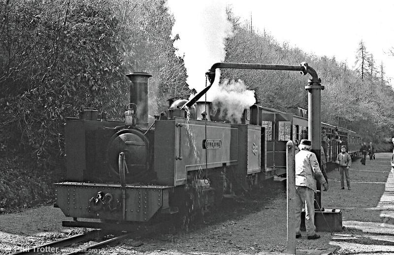 VoR no. 8 'Llywelyn' replenishes its tanks at Aberffrwd.