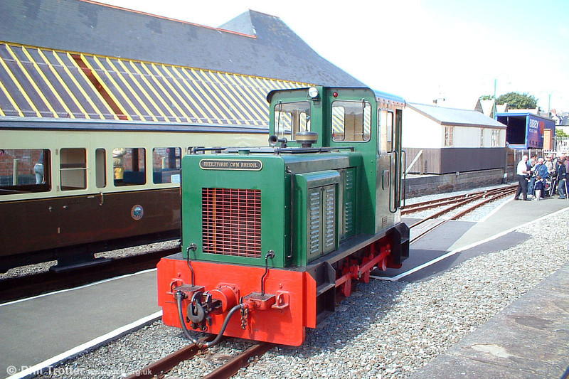 The Vale of Rheidol's diesel locomotive no.10 awaits to return to the shed after bringing in the empty stock for the 1215 Aberystwyth to Devil's Bridge on 3rd August 2005. The locomotive was built at the workshops of the Brecon Mountain Railway, near Merthyr Tydfil.