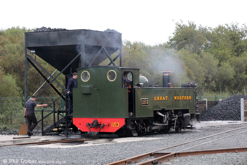 VoR 2-6-2T no. 1213 is serviced at Aberystwyth ready for its next run to Devil's Bridge on 7th October 2019.