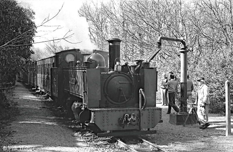 VoR no. 8 'Llywelyn' taking water at Aberffrwd. Since privatisation this station has been much improved and now includes a passing loop.