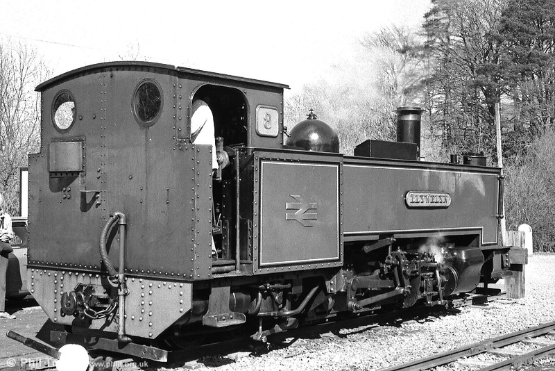 VoR no. 8 'Llywelyn' rests at the buffer stop at Devil's Bridge.