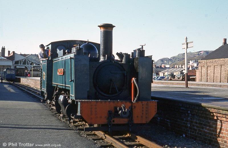 BR blue Vale of Rheidol 2-6-2T no. 8 'Llewelyn' at Aberystwyth.