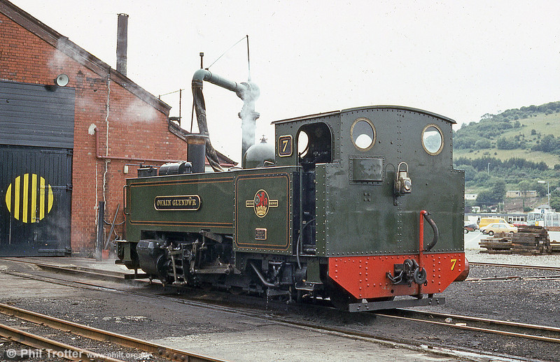 VoR no.7 takes water at Aberystwyth loco shed in preparation for an afternoon run to Devil's Bridge in July 1984.