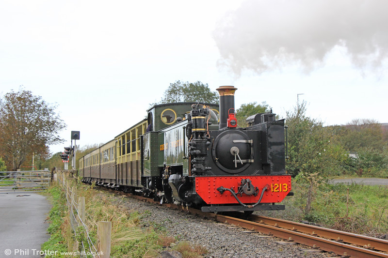 VoR 2-6-2T no. 1213 at Llanbadarn with the to 1400 Devil's Bridge on 11th October 2019. At its next overhaul, 1213 will be rebuilt with the air pump hidden as is the case with its sister locos.