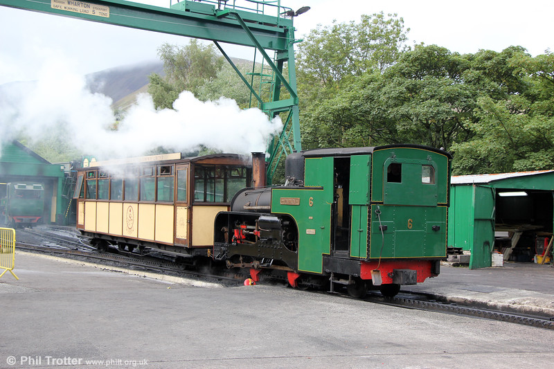 SLM (2838/1922) 0-4-2RT no. 6 'Padarn'  at Llanberis on 16th August 2018. No 6 is named after the lower lake at Llanberis. Originally named Sir Harmood after the chairman of the company, Sir John Sutherland Harmood-Banner, it was renamed Padarn in 1928.