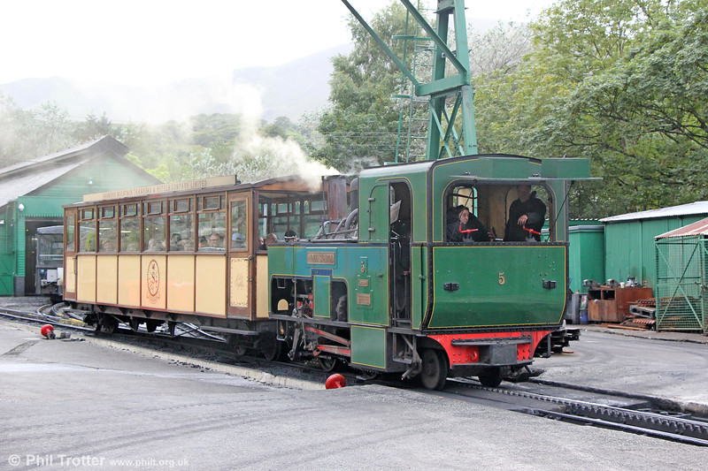 Snowdon Mountain Railway SLM (989/1896) 0-4-2RT no. 5 'Moel Siabod' at Llanberis on 6th September 2017.