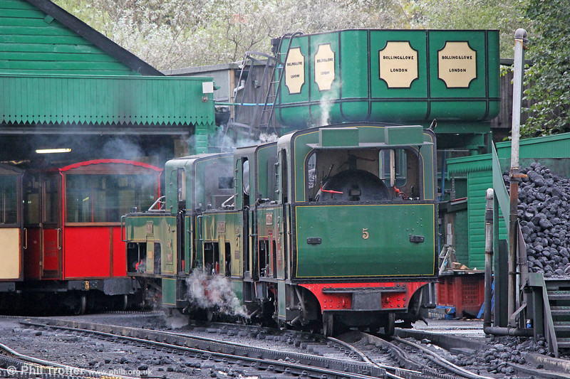 Three of the Snowdon Mountain Railway's locos on shed at Llanberis. Left to right: SLM (924/1895) 0-4-2RT no. 2 'Enid', SLM (925/1895) 0-4-2RT no. 3 'Wyddfa' and SLM (989/1896) 0-4-2RT no. 5 'Moel Siabod'. 5th September 2017.