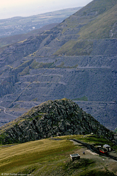 Evidence of quarrying is is quite clear in this view of Clogwyn, Snowdon Mountain Railway, in August 2009.
