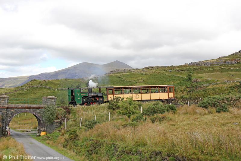 SLM (2838/1922) 0-4-2RT no. 6 'Padarn' climbs away from Llanberis  near Ty'n-yr-Ardd on 16th August 2018.