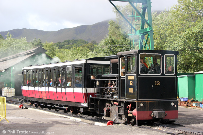 0-4-0DH no. 12 'George' (Hunslet 9312/1992) at Llanberis on 16th August 2018. The loco is named after George Thomas, 1st Viscount Tonypandy.