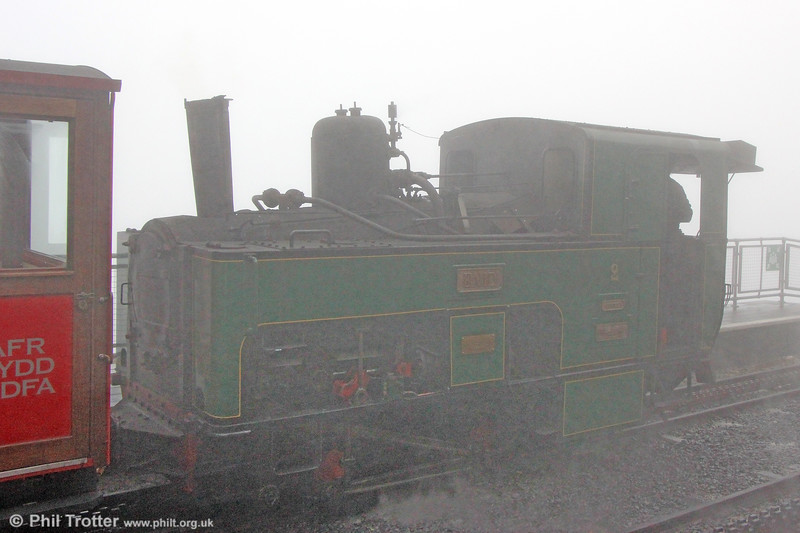 There's a loco in there somewhere... SMR SLM (924/1895) 0-4-2RT no. 2 'Enid' in the mist at Snowdon Summit on 7th September 2017.