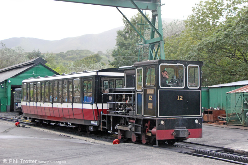 Snowdon Mountain Railway Hunslet (9312/1992) 0-4-0DH no. 12 'George' at Llanberis on 6th September 2017. Happily, the SMR's use of dmus was shortlived.