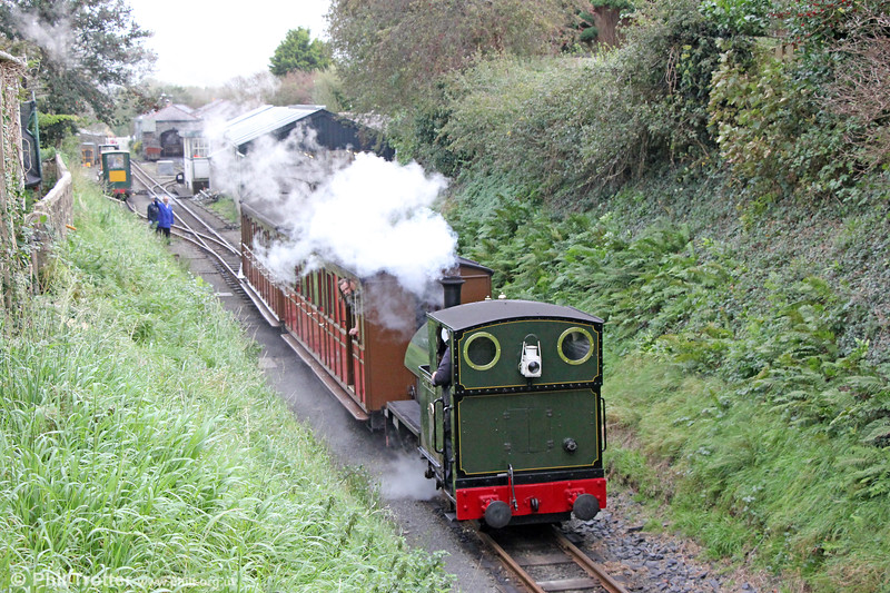 Kerr Stuart (4047/1921) 0-4-2ST no.4 'Edward Thomas' moves the rolling stock for the day from the carriage shed at Tywyn Pendre on 10th October 2019.