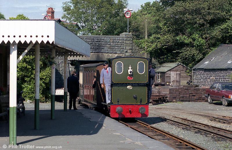 Talyllyn Railway 0-4-0WT no. 6 'Douglas' (AB1431/1916) arrives at Tywyn Wharf.
