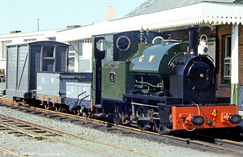 A demonstration goods train at Tywyn on the Talyllyn Railway in May 1985, headed by no. 4 'Edward Thomas'. This loco originated with the Corris Railway in 1921, later passing to the GWR whose identity it carries here.