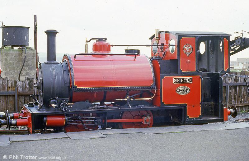 Talyllyn Railway 0-4-2ST no. 3 'Sir Haydn' in red livery at Tywyn in May 1986.
