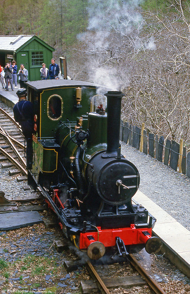 Talyllyn Railway 0-4-0WT no. 6 'Douglas' runs around its train at Nant Gwernol in May 1986.