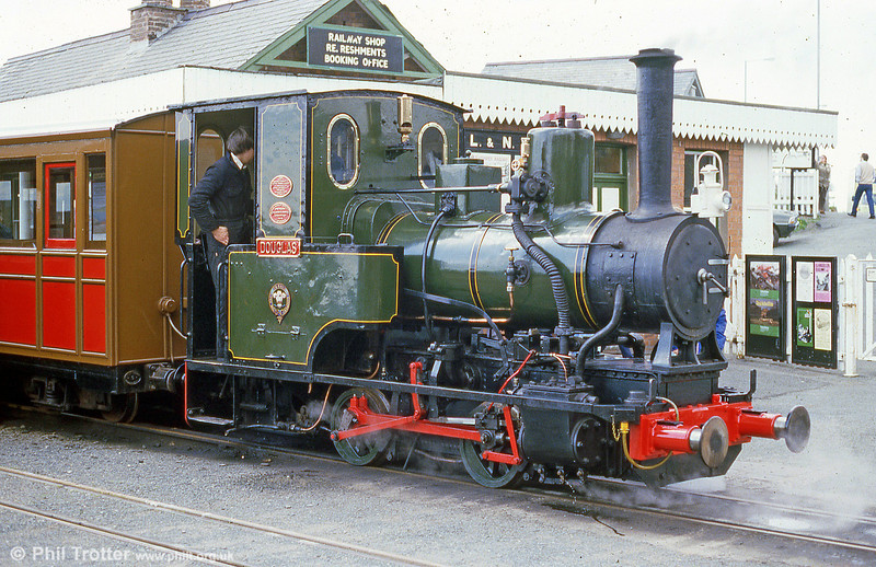 Talyllyn Railway no. 6 'Douglas'. This 0-4-0WT was built in 1918 by Andrew Barclay & Co. Ltd. for the Airservice Construction Corps. From 1921 until 1945 it worked at the RAF railway at Calshot Spit, Southampton. After a period in store at Calshot it was bought in 1949 by Abelson & Co. (Engineers) Ltd. who presented it to the Talyllyn in 1953.