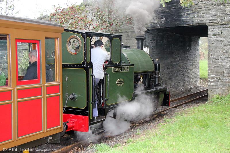 Kerr Stuart (4047/1921) 0-4-2ST no.4 'Edward Thomas' departs from Rhydyronen with the 1030 Tywyn to Nant Gwernol on 8th October 2019.