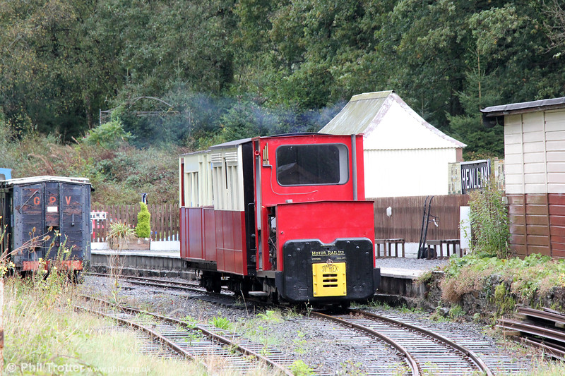 Motor Rail 4wDM (11111/1959) 'Sammy' at Henllan with the 1300 to Forest Halt on 13th October 2019.