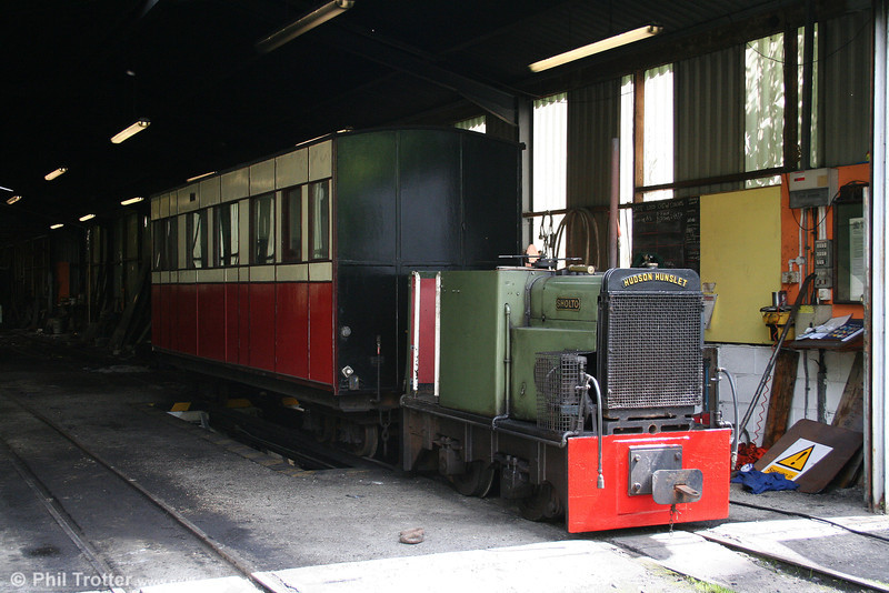 On the Teifi Valley Railway, Hudson Hunslet 4wDM (HE2433/1941) 'Sholto' waits in the shed on 20th July 2008.
