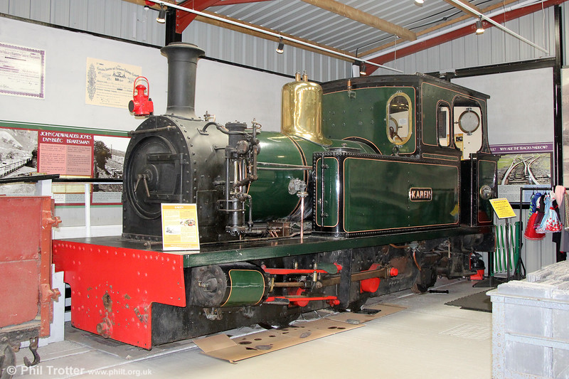 Welsh Highland Heritage Railway Peckett 0-4-2T (2024/1942) at Gelert's Farm museum on 8th September 2017. Karen was built for the Selukwe Peak Light Railway in Rhodesia (now Zimbabwe). This railway was constructed in the 1920s to carry chrome ore from the Rhodesia Chrome Mines Ltd. workings to the railhead at Selukwe. It returned to the UK in 1978.