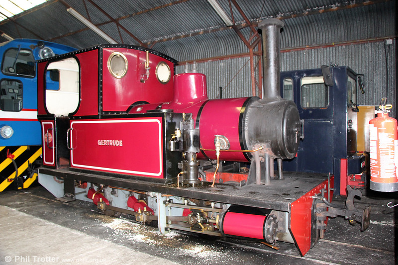 Welsh Highland Heritage Railway Andrew Barclay 0-6-0T (1578/1918) 'Gertrude' at Gelert's Farm museum on 8th September 2017. Gertrude was one of three identical 0-6-0 tank locomotives built specifically for the Sydenham Ironstone quarry in Oxfordshire.