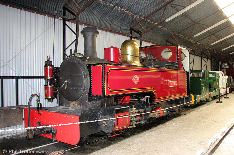 Welsh Highland Heritage Railway Hunslet 2-6-2T (901/1906) 'Russell' at Gelert's Farm museum on 8th September 2017.  Russell was ordered in 1906 by the Portmadoc, Beddgelert & South Snowdon Railway Company before their line was ready (it was never completed) and set to work for the North Wales Narrow Gauge Railways Company until that company, together with the P. B. & S. S. Company was incorporated into the Welsh Highland Railway in 1922.