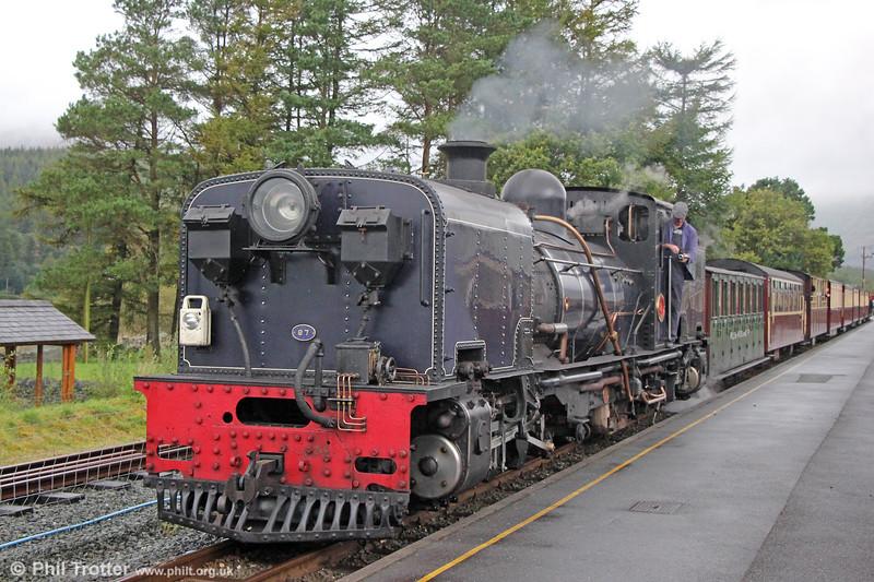 Welsh Highland Railway  NGG16 2-6-2+2-6-2T Garratt no. 87 (Cockerill 3267/1936) at Rhyd Ddu with the 1545 from Porthmadog to Caernarfon on 7th September 2017.