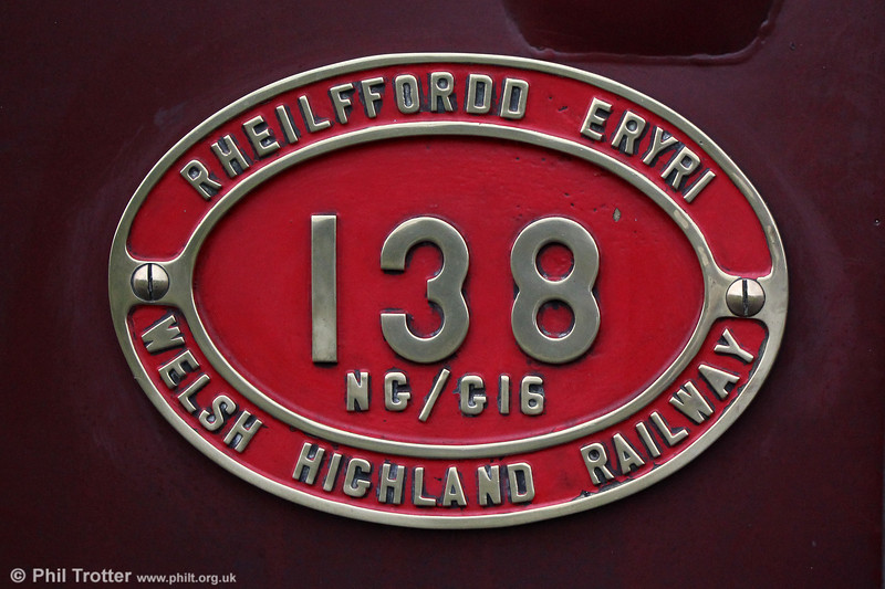 Number plate of Welsh Highland Railway  NGG16 2-6-2+2-6-2T Garratt no. 138 (BP 7863/1958) on 4th September 2017.