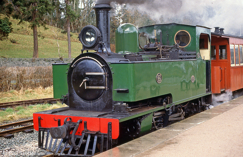 A close-up of Welshpool & Llanfair Light Railway 2-6-2T no. 14, built by Hunslet (3815/1954) for the Sierra Leone Railway (no. 85).