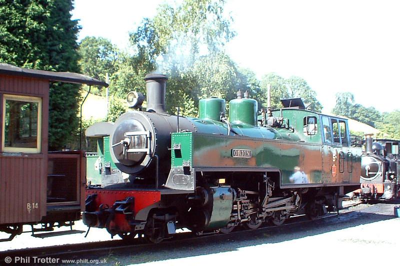 The Welshpool & Llanfair Light Railway's Tubize 2-6-2T no. 5 'Orion' in light steam at Llanfair Caereinion on 21st August 2005.