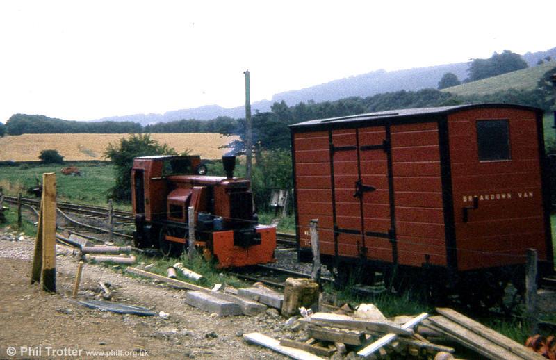 Welshpool and Llanfair Light Railway 0-4-0DM 11 'Ferret' (Hunslet 2251/1940) at Sylfaen in 1973.