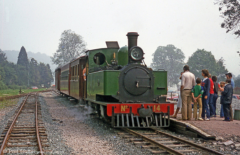 Waiting at Welshpool, Raven Square is 1954-built Hunslet 2-6-2T no. 14. The loco was imported from Sierra Leone in 1975.