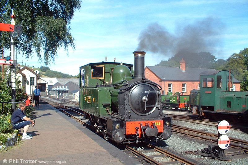 Welshpool & Llanfair no. 823 'Countess' at Llanfair Caereinion on 21st August 2005. The locomotive has been restored to GWR condition; the Great Western operated this railway from 1922/23 until nationalisation in 1948. Normal passenger traffic ceased in 1931.
