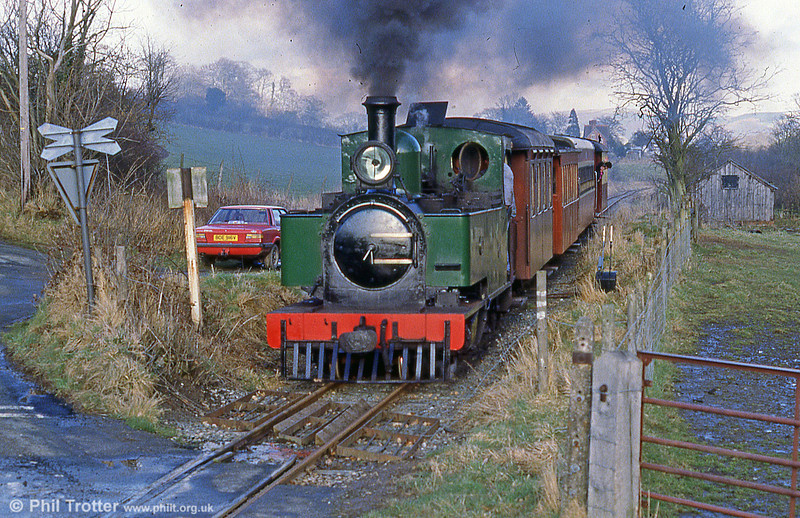 A scene on the Welshpool & Llanfair Light Railway, with former Sierra Leone Railway no. 85 (W&LLR no. 14) approaching and my old Cortina!