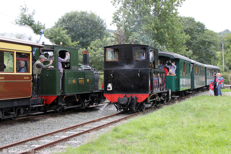 W&LLR Beyer Peacock 0-6-0Ts 822 and 823 pass at Castle Caereinion on 31st August 2013.