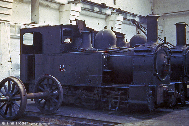 Welshpool and Llanfair Light Railway 0-6-0T 822 'The Earl' (BP3496/1903) at Oswestry Works on 4th October 1959.      823 'Countess' is alongside. (P.Trotter Collection)