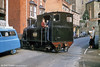 Welshpool and Llanfair Light Railway 0-6-0T 822 'The Earl' (BP3496/1903) crossing Church Street, Welshpool. This section of the line closed in 1956. (P.Trotter Collection - Copyright held by  Colour-Rail).